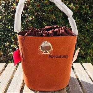 Kate spade Suzy suede small bucket amber crossbody